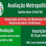 Metropolitano realiza avaliação de atletas para as categorias de base